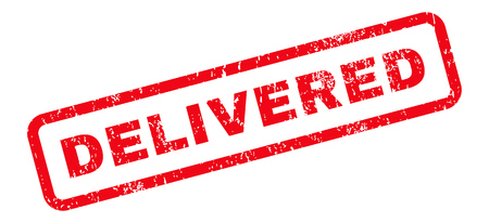 delivered: Delivered Text rubber seal stamp watermark. Tag inside rectangular banner with grunge design and dust texture. Slanted vector red ink sticker on a white background.