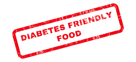 diabetes food: Diabetes Friendly Food Text rubber seal stamp watermark. Tag inside rectangular banner with grunge design and unclean texture. Slanted vector red ink sign on a white background.