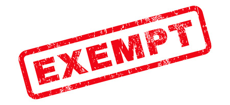 exempt: Exempt Text rubber seal stamp watermark. Tag inside rectangular banner with grunge design and scratched texture. Slanted vector red ink sign on a white background.