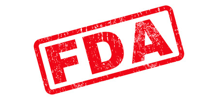 FDA Text rubber seal stamp watermark. Caption inside rectangular banner with grunge design and dust texture. Slanted vector red ink sign on a white background. Vettoriali