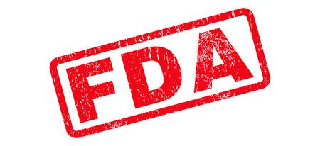 Marca de agua de sello de goma de texto de FDA. Título dentro de banner rectangular con diseño grunge y textura de polvo. Signo de tinta roja vector inclinado sobre un fondo blanco.