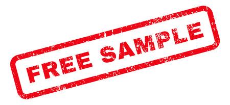 Texto de muestra gratis marca de sello de goma de sello. Etiqueta dentro de banner rectangular con diseño grunge y textura de polvo. Signo de tinta roja vector inclinado sobre un fondo blanco.