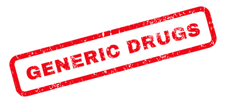 generic drugs: Generic Drugs Text rubber seal stamp watermark. Caption inside rectangular banner with grunge design and scratched texture. Slanted vector red ink emblem on a white background.