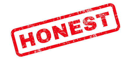 honest: Honest Text rubber seal stamp watermark. Caption inside rectangular banner with grunge design and scratched texture. Slanted vector red ink sign on a white background.