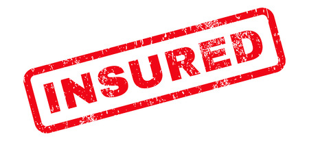 insured: Insured Text rubber seal stamp watermark. Tag inside rectangular banner with grunge design and dirty texture. Slanted vector red ink sticker on a white background.