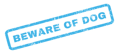 beware: Beware Of Dog text rubber seal stamp watermark. Caption inside rectangular banner with grunge design and dirty texture. Slanted vector blue ink sign on a white background.