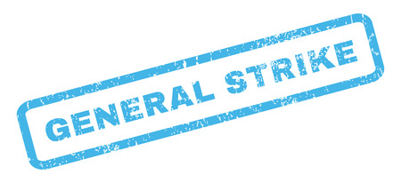general: General Strike text rubber seal stamp watermark. Tag inside rectangular shape with grunge design and dirty texture. Slanted vector blue ink sticker on a white background.