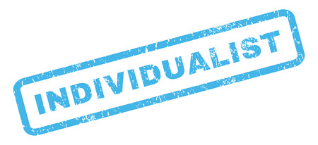 individualist: Individualist text rubber seal stamp watermark. Tag inside rectangular shape with grunge design and scratched texture. Slanted vector blue ink emblem on a white background. Illustration