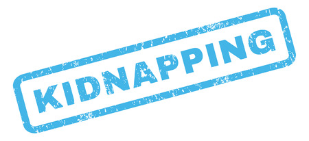 kidnapping: Kidnapping text rubber seal stamp watermark. Caption inside rectangular banner with grunge design and scratched texture. Slanted vector blue ink emblem on a white background.