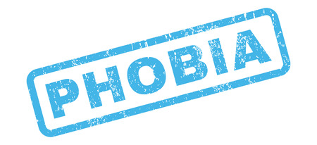 phobia: Phobia text rubber seal stamp watermark. Tag inside rectangular shape with grunge design and scratched texture. Slanted vector blue ink sign on a white background.