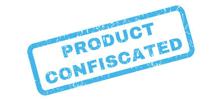confiscated: Product Confiscated text rubber seal stamp watermark. Tag inside rectangular banner with grunge design and unclean texture. Slanted vector blue ink sign on a white background.