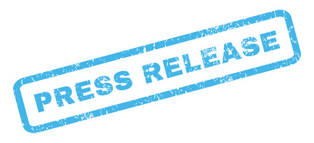 splashed: Press Release text rubber seal stamp watermark. Tag inside rectangular shape with grunge design and scratched texture. Slanted vector blue ink sign on a white background.