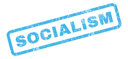 socialism: Socialism text rubber seal stamp watermark. Caption inside rectangular shape with grunge design and scratched texture. Slanted vector blue ink sticker on a white background.