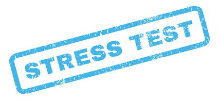 stress test: Stress Test text rubber seal stamp watermark. Caption inside rectangular shape with grunge design and dirty texture. Slanted vector blue ink sticker on a white background.