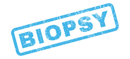biopsia: Biopsia de caucho sello de marca de agua de texto sello. Leyenda en el interior de forma rectangular con diseño de grunge y textura sucia. glifo inclinada Azul etiqueta de tinta sobre un fondo blanco.