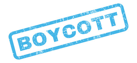 boycott: Boycott text rubber seal stamp watermark. Tag inside rectangular banner with grunge design and dirty texture. Slanted glyph blue ink emblem on a white background.
