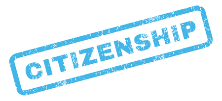 citizenship: Citizenship text rubber seal stamp watermark. Caption inside rectangular shape with grunge design and unclean texture. Slanted glyph blue ink emblem on a white background.