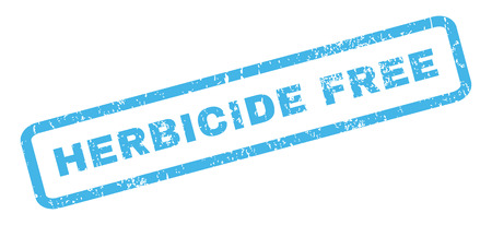 herbicide: Herbicide Free text rubber seal stamp watermark. Tag inside rectangular shape with grunge design and dust texture. Slanted glyph blue ink emblem on a white background.