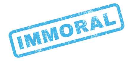 immoral: Immoral text rubber seal stamp watermark. Caption inside rectangular banner with grunge design and unclean texture. Slanted glyph blue ink sticker on a white background.