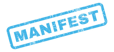 manifest: Manifest text rubber seal stamp watermark. Tag inside rectangular shape with grunge design and unclean texture. Slanted glyph blue ink sticker on a white background. Stock Photo