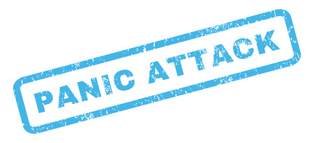 panic attack: Panic Attack text rubber seal stamp watermark. Caption inside rectangular banner with grunge design and scratched texture. Slanted glyph blue ink sticker on a white background.