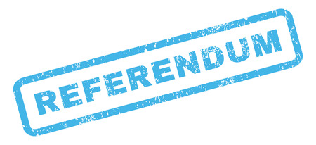 referendum: Referendum text rubber seal stamp watermark. Caption inside rectangular banner with grunge design and unclean texture. Slanted glyph blue ink emblem on a white background.
