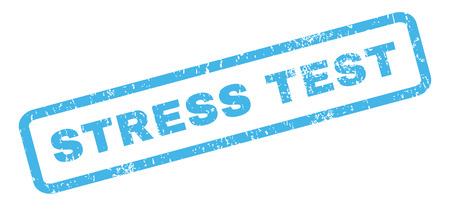 stress test: Stress Test text rubber seal stamp watermark. Caption inside rectangular banner with grunge design and dust texture. Slanted glyph blue ink sticker on a white background. Stock Photo