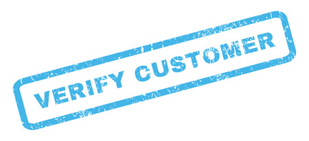verify: Verify Customer text rubber seal stamp watermark. Tag inside rectangular banner with grunge design and unclean texture. Slanted glyph blue ink sticker on a white background.