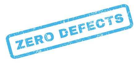 defects: Zero Defects text rubber seal stamp watermark. Tag inside rectangular banner with grunge design and unclean texture. Slanted glyph blue ink sticker on a white background.