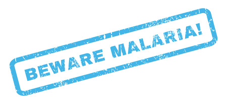 malaria: Beware Malaria! text rubber seal stamp watermark. Tag inside rectangular banner with grunge design and dust texture. Slanted glyph blue ink emblem on a white background. Stock Photo