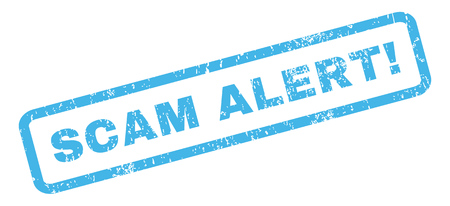 scam: Scam Alert! text rubber seal stamp watermark. Tag inside rectangular shape with grunge design and scratched texture. Slanted glyph blue ink sign on a white background.