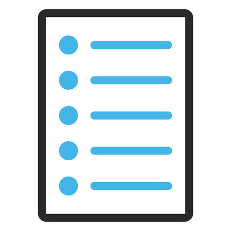 item list: Items vector icon. Image style is a flat bicolor icon symbol in a rounded rectangle, blue and gray colors, white background. Illustration