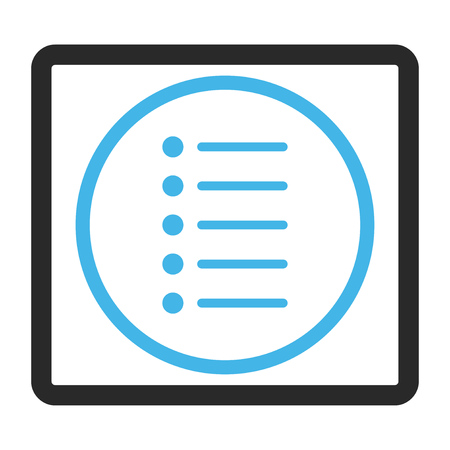 enumerate: Items vector icon. Image style is a flat bicolor icon symbol in a rounded rectangle, blue and gray colors, white background. Illustration