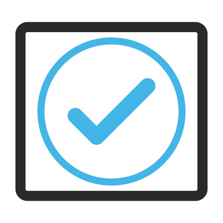 Ok vector icon. Image style is a flat bicolor icon symbol in a rounded rectangular frame, blue and gray colors, white background.