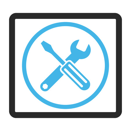 config: Options vector icon. Image style is a flat bicolor icon symbol in a rounded rectangular frame, blue and gray colors, white background.