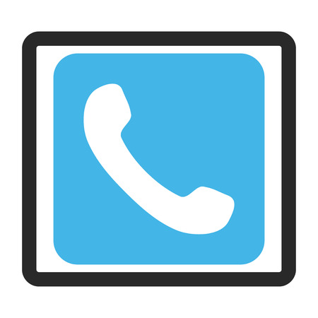 telephony: Phone vector icon. Image style is a flat bicolor icon symbol inside a rounded rectangular frame, blue and gray colors, white background. Illustration
