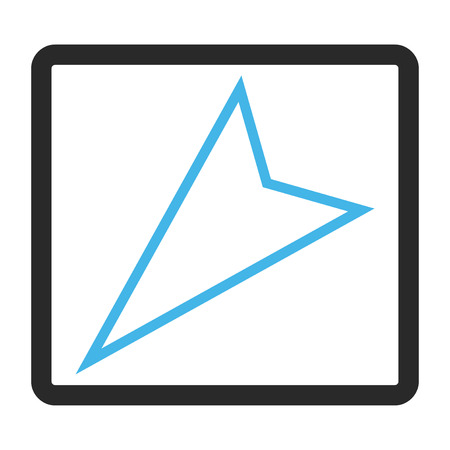 penetrating: Pointer Left Down vector icon. Image style is a flat bicolor icon symbol in a rounded rectangle, blue and gray colors, white background. Illustration