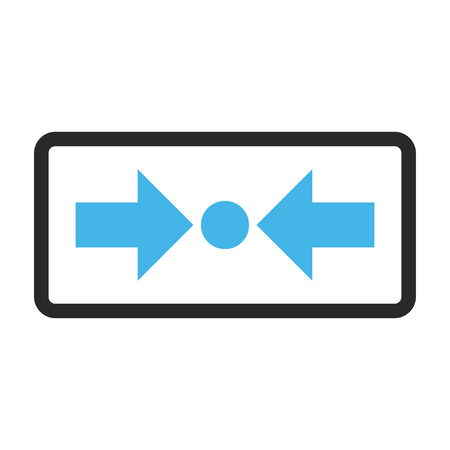 shrink: Pressure Horizontal vector icon. Image style is a flat bicolor icon symbol in a rounded rectangle, blue and gray colors, white background.