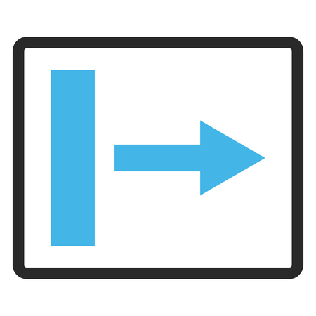 Pull Right vector icon. Image style is a flat bicolor icon symbol inside a rounded rectangle, blue and gray colors, white background. Illustration