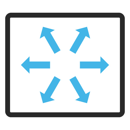 fullscreen: Radial Arrows vector icon. Image style is a flat bicolor icon symbol in a rounded rectangle, blue and gray colors, white background. Illustration