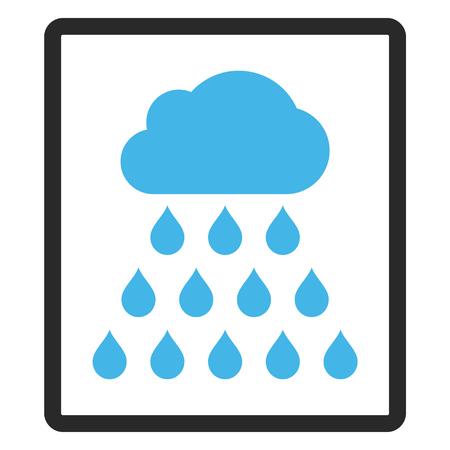 雨の雲のベクトルのアイコン。画像のスタイルは、角丸四角形、青と灰色の色、白い背景でバイカラー フラット アイコン シンボルです。