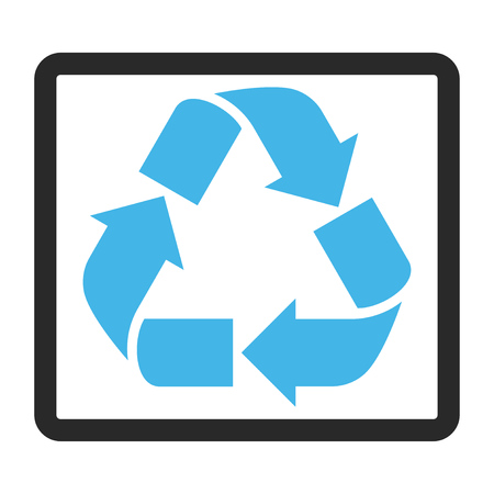 dispose: Recycle vector icon. Image style is a flat bicolor icon symbol inside a rounded rectangular frame, blue and gray colors, white background.