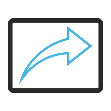 redo: Redo vector icon. Image style is a flat bicolor icon symbol in a rounded rectangular frame, blue and gray colors, white background. Illustration