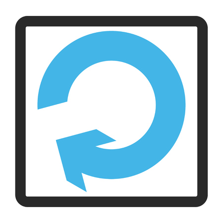 rounded rectangle: Rotate vector icon. Image style is a flat bicolor icon symbol inside a rounded rectangle, blue and gray colors, white background. Illustration