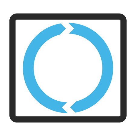 rounded rectangle: Rotation vector icon. Image style is a flat bicolor icon symbol inside a rounded rectangle, blue and gray colors, white background.