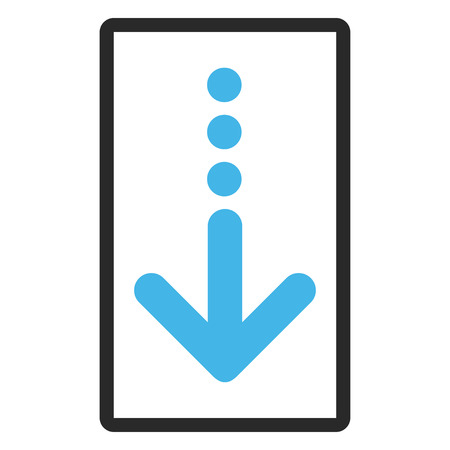 blue send: Send Down vector icon. Image style is a flat bicolor icon symbol in a rounded rectangular frame, blue and gray colors, white background.
