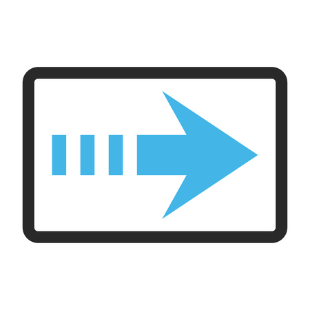 Send Right vector icon. Image style is a flat bicolor icon symbol inside a rounded rectangular frame, blue and gray colors, white background.