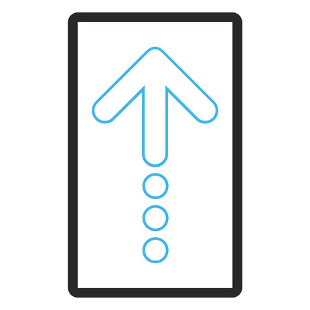 blue send: Send Up vector icon. Image style is a flat bicolor icon symbol inside a rounded rectangle, blue and gray colors, white background.