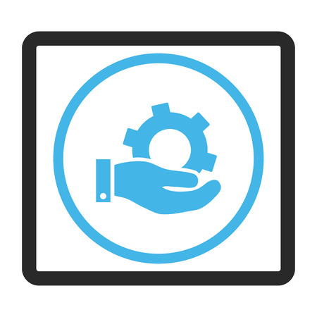 config: Service vector icon. Image style is a flat bicolor icon symbol in a rounded rectangular frame, blue and gray colors, white background.