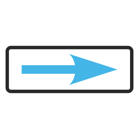 Sharp Arrow Right vector icon. Image style is a flat bicolor icon symbol inside a rounded rectangular frame, blue and gray colors, white background.